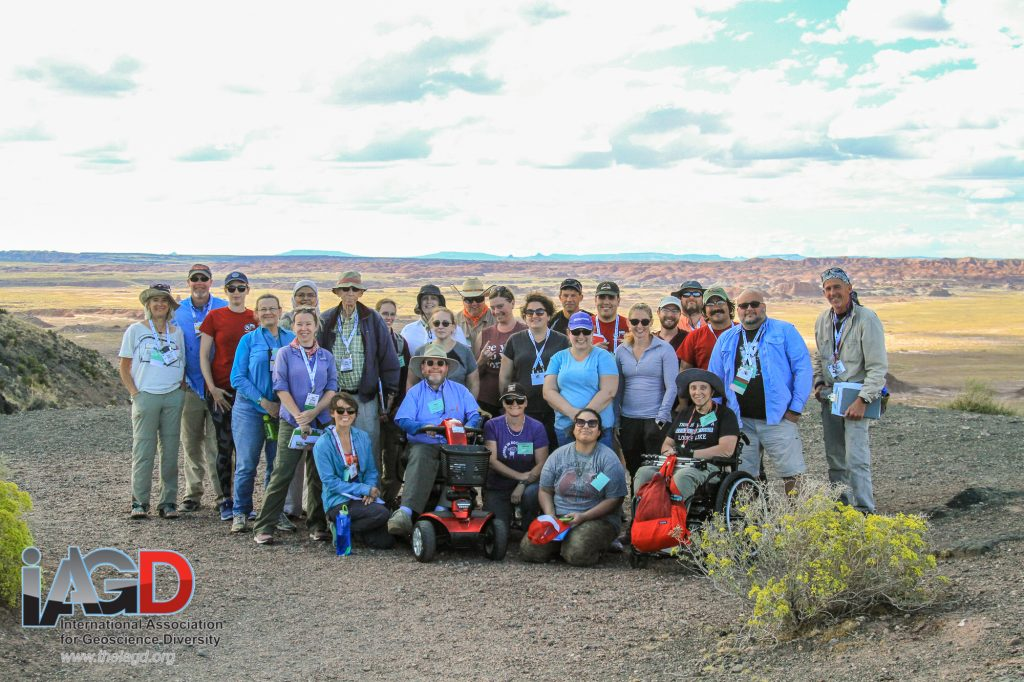 A group of people standing on a rock with the Painted Desert in the background.